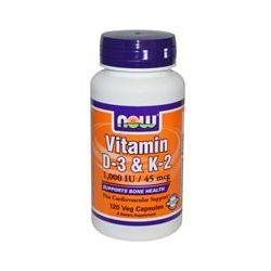 Now Foods, Vitamin D-3 & K-2, 1,000 IU / 45 mcg, 120 Veggie Caps