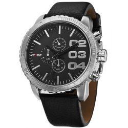 Alienwork Weide Quarzuhr Armbanduhr XXL Oversized Uhr Wasserdicht 3ATM Leder schwarz schwarz OS.WH-3310-3