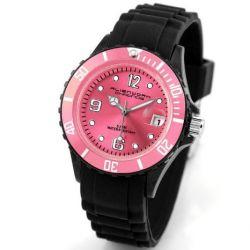 Alienwork Chronos Quarzuhr Armbanduhr Wasserdicht 5ATM Uhr Silikon pink schwarz U0567-17-5A