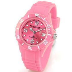 Alienwork Chronos Quarzuhr Armbanduhr Wasserdicht 5ATM Uhr Silikon pink pink U0563-42-5A
