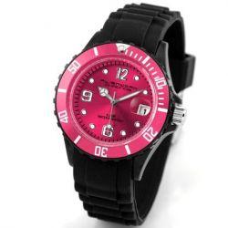 Alienwork Chronos Quarzuhr Armbanduhr Wasserdicht 5ATM Uhr Silikon rosa schwarz U0567-22-5A