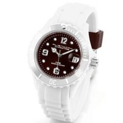 Alienwork Chronos Quarzuhr Armbanduhr Wasserdicht 5ATM Uhr Silikon braun weiss U0563-25-5A