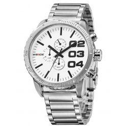 Alienwork Weide Quarzuhr Armbanduhr XXL Oversized Uhr Wasserdicht 3ATM Metall weiss silber OS.WH-3310-2