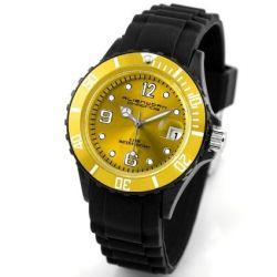 Alienwork Chronos Quarzuhr Armbanduhr Wasserdicht 5ATM Uhr Silikon gelb schwarz U0567-18-5A