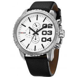 Alienwork Weide Quarzuhr Armbanduhr XXL Oversized Uhr Wasserdicht 3ATM Leder weiss schwarz OS.WH-3310-4