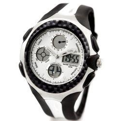 Alienwork Ohsen Analog-Digital Armbanduhr Chronograph LED Uhr Multi-funktion Kautschuk weiss weiss OS.AD0926-2