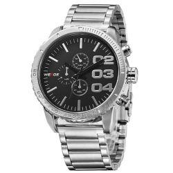 Alienwork Weide Quarzuhr Armbanduhr XXL Oversized Uhr Wasserdicht 3ATM Metall schwarz schwarz OS.WH-3310-1