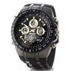 Alienwork I-polw Analog-Digital Armbanduhr Multi-funktion LCD Uhr XXL Oversized Kautschuk schwarz schwarz FS-584-1