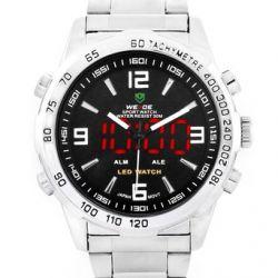 Alienwork DualTime Analog-Digital Armbanduhr Multi-funktion LED Uhr Edelstahl schwarz silber OS.WH-1009-1
