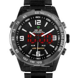 Alienwork DualTime Analog-Digital Armbanduhr Multi-funktion LED Uhr Edelstahl schwarz schwarz OS.WH-1009-B-3