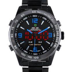 Alienwork DualTime Analog-Digital Armbanduhr Multi-funktion LED Uhr Edelstahl schwarz schwarz OS.WH-1009-B-5