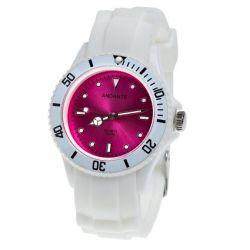 Andante Sportliche Wasserdichte Unisex Armbanduhr Silikon Quarz 3ATM WEISS ROSA AS-5003