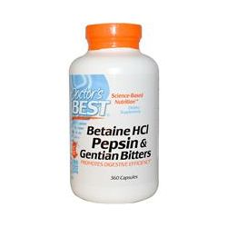 Doctor's Best, Betaine HCL Pepsin & Gentian Bitters, 360 Capsules