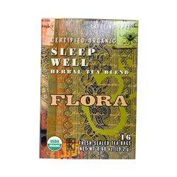 Flora, Certified Organic Sleep Well Herbal Tea Blend, Caffeine-Free, 16 Tea-Bags, 0.68 oz (19.2 g)