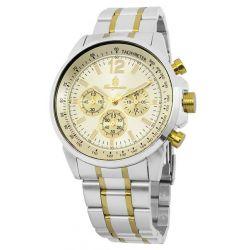 Burgmeister Herren-Armbanduhr XL Analog Quarz Edelstahl beschichtet BM608-977