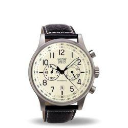 Davis 1022 Fliegeruhr im Vintage-Look 42 mm,Beiges Ziffernblatt, Chronograph Wasserdicht 50 m, Abgestepptes Armband aus schwarzem Leder