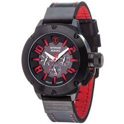 Detomaso Herren-Armbanduhr XL PANARO Solar Schwarz/Schwarz Trend Analog Quarz Leder DT1054-B