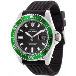 Detomaso Herren-Armbanduhr XL Green Black Silikon Analog Quarz Silikon