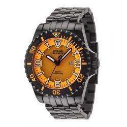 Detomaso Herren-Armbanduhr XL SAN MARINO Solar Black/Orang Analog Quarz Edelstahl DT1053-B