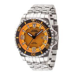 Detomaso Herren-Armbanduhr XL SAN MARINO Solar Silver/Orang Analog Quarz Edelstahl DT1053-A
