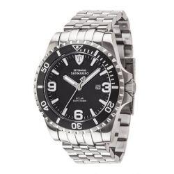 Detomaso Herren-Armbanduhr XL SAN MARINO Solar Silver/Black Analog Quarz Edelstahl DT1053-C