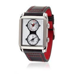 Detomaso Herren-Armbanduhr XL ADRIA Dual Time Silver Classic Analog Quarz Leder DT1050-C