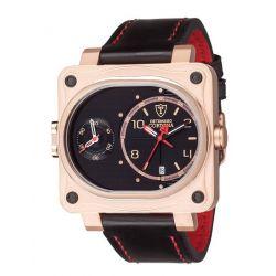 Detomaso Herren-Armbanduhr CORTONA Dual Time Rosegold Analog Quarz Leder DT1044-C