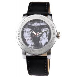 Edc Damen-Armbanduhr XL coin pusher - cool black, white Analog Quarz Leder EE100531001