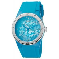 Edc Damen-Armbanduhr Fresh Allure Glowing Blue Analog Quarz Plastik EE100472003