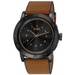 Edc Herren-Armbanduhr XL Genuine Star - Camel Brown Analog Quarz Kunstleder EE100971005