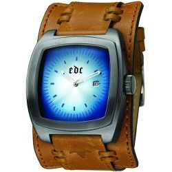 Edc Herren-Armbanduhr Heart Breaker Cosmic Brown Analog Quarz Kunstleder EE100031007