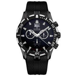 Edox Grand Ocean Chronodiver Big Date Chronograph Black PVD Mens Luxury Sport Watch 10022-37N-NIN