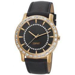 Esprit Damen-Armbanduhr Carmel Gold Black Analog Quarz Leder ES104512002