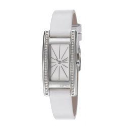 Esprit ES106172003 vivid crystal white Uhr Damenuhr Lederarmband Edelstahl 30m Analog weiss