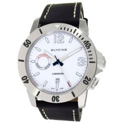 Glycine Lagunare Automatic L1000 Steel Mens Divers Watch White Dial Calendar 3899.11.D9