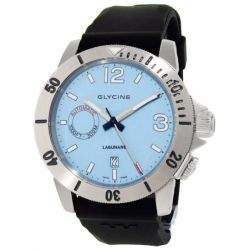 Glycine Lagunare Automatic L1000 Steel Mens Divers Watch Blue Dial Calendar 3899.18.D9