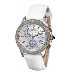 Golana Aura Pro Swiss Made Ladies Chronograph Diamond Set Watch AU250-3