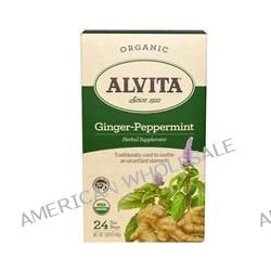 Alvita Teas, Ginger-Peppermint, Organic, Caffeine Free, 24 Tea Bag, 1.69 oz (48 g)