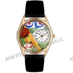 Skurril Uhren C-0820023 Womens Softball Black Skin Leather And Goldton Uhr