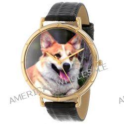 Skurril Uhren N0130029 Corgi schwarzem Leder und Goldton Foto Watch