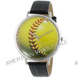 Skurril Uhren T0840003 Softball Liebhaber schwarzem Leder und Silvertone Foto Watch