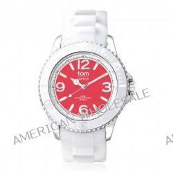 Tom Watch Basic White 44 w. strawberry red / Damen und Herren Silikon Armbanduhr / WA00105