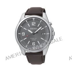 Seiko Herren-Armbanduhr XL Kinetic Analog Quarz Leder SKA613P1