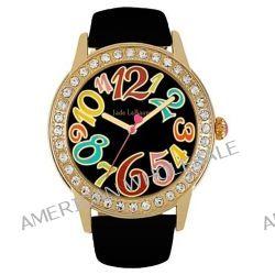 Damen Schwarz Leder Armbanduhr Große Gesicht Mod Einfache Gelesene Designer Jade LeBaum JB202756G