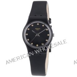 Swatch Damen-Armbanduhr XS Originals Hora Negra Analog Quarz Leder LB172