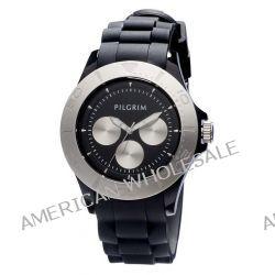 Pilgrim Damen-Armbanduhr Versilbert Schwarz Analog Quarz 780-280