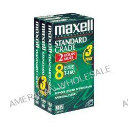 Maxell STD T160 3PK 160 Minute VHS Standard Grade 213030 B&H