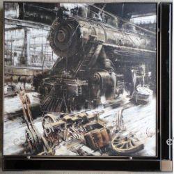 nowoczesny obraz, antyczna lokomotywa, AMS 6963
