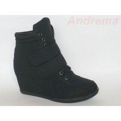 Buty Botki Sneakersy Koturn black 1263 r 40