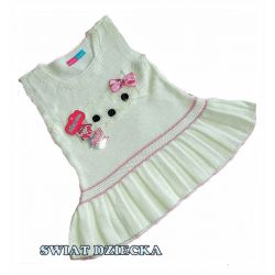 Sukienka dzianinowa dla dziewczynki 92/98(3)ecru